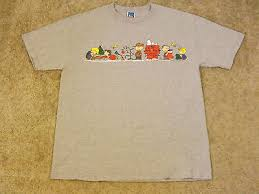 Peanuts Christmas T Shirt Charlie Brown Snoopy Large Gray Cartoon ...