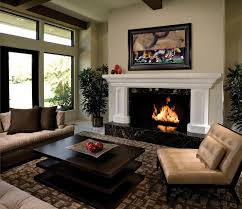 Unique Living Room With Fireplace In Middle Modern Intended