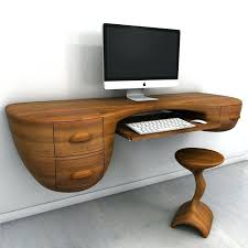 floating laptop desk corner modern shelves wood computer table