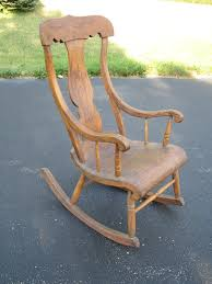 antique farmhouse wooden wood rocking chair rocker with urn back
