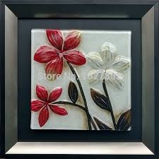 handpainted glass oil painting on wood flower wall art for home decoration 1pc with frame