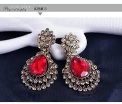 red chandelier earrings drop bridal earrings pageant crystal earrings