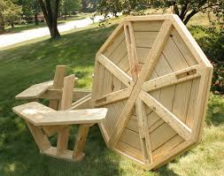 round wooden picnic table plans