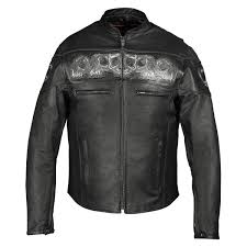 vance leathers men s reflective skulls black leather jacket