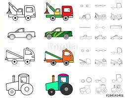 Illustration. Poster. Step-by-step drawing of machines for children ...