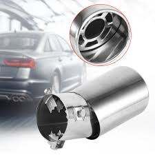 Exhaust Muffler 1 Pcs <b>Universal</b> Rear Round Chrome Stainless ...