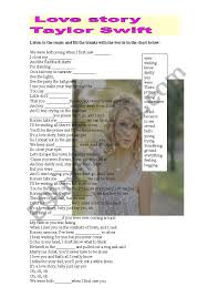 Love Story Taylor Swift Lyrics - ESL worksheet by athos466