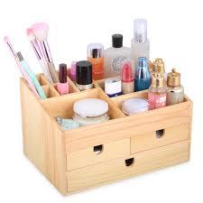 kendal wooden desktop makeup cosmetic organizer display box case with storage drawers wsb01pc 0