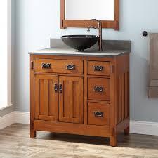 Rustic Bathroom Storage Bathroom 36 American Craftsman Vessel Sink Vanity Rustic Oak
