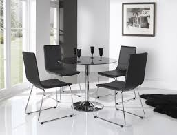f exclusive small dining room furniture ideas for indoor cafe design featuring black glass round bar table with four black leatherette backseat dining black and chrome furniture