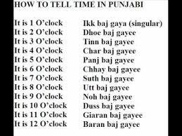 Punjabi Language How To Tell Time In Punjabi Part 1 Youtube