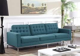 Button Sofa Design Amazon Com Iconic Home Draper Sofa Three Seat Linen