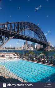 olympic swimming pool background. North Sydney Olympic Pool With Harbour Bridge And CBD Skyline In Background NSW Australia Swimming