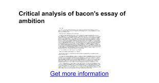 critical analysis of bacon s essay of ambition google docs