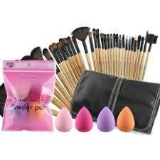 jollychic 32 pcs makeup brushes 4 pcs sponge bination set intl philippines
