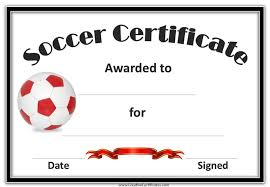 Award Templates Soccer Award Certificate Template