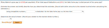 Estimate Payroll Deductions Solved Missy Adamss Gross Pay Is 1500 Per Paycheck If