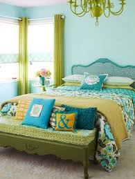 green and yellow bedroom.  And Bedroom In Apple Green Yellow And Turquoise Blue  Color Of The Month In Green And Yellow Bedroom