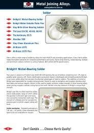 Harris Solder Chart Guide To Brazing Soldering The Harris Products Group