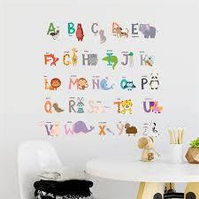 cartoon animals 26 abc alphabet wall