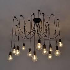 lixada 14 arms e27 ceiling spider pendant lamp light antique classic adjule diy retro chandelier dining loading zoom