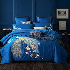 blue red luxury peacock embroidery 60s egyptian bedding set queen king size duvet cover bed sheet pillowcases 4 cotton comforter sets queen white king