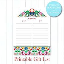 Printable Bridal Shower Gift List Template Baby Shower Guest List Wissenshunger Info