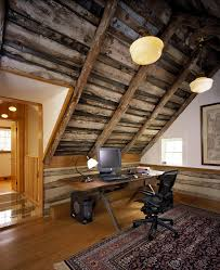 home office cabin. Office Cabin Design Ideas Home Rustic With Desk Chair Pendant Lighting Sloped Ceiling