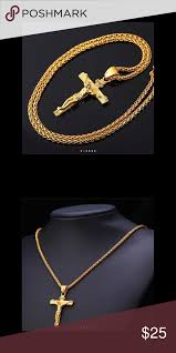 new 18k gold cross necklace for men
