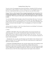 Essay On Tolerance Freedom Writers Diary Essay You Are To Write A Five
