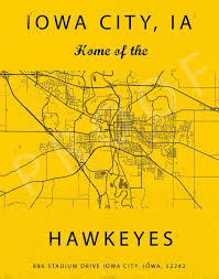 Iowa City Iowa Map Kinnick Stadium Sign Iowa Hawkeyes Art