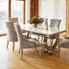 dining room table chairs luxury renata marble and chrome dining table and 6 silver louis chairs