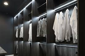 walk in closet with led closet lights system