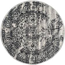 safavieh adirondack silverblack 4 ft x 4 ft round area rug california shag black 4 ft