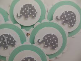 Turquoise Baby Shower Decorations Elephant Cupcake Toppers Mint Green With Gray Polka Dot