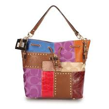 Coach Holiday Stud Large Brown Multi Shoulder Bags EBB
