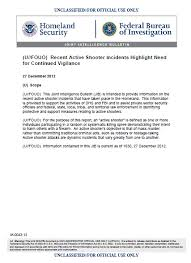 U Fouo Dhs Fbi Bulletin Recent Active Shooter Incidents Highlight