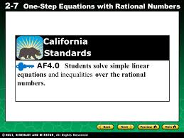af4 0 students solve simple linear equations and inequalities over the rational numbers