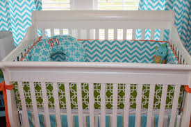 1 13 bright and modern orange turquoise gray nursery chevron bedding