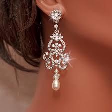 bridal rhinestone earrings ivory pearl earrings chandelier ear