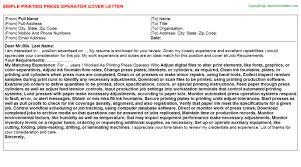 Printing Press Operator Job Cover Letter