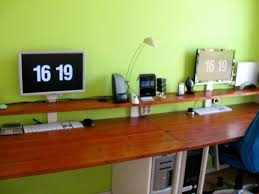idea office furniture. Creative Simple Desk Decorating Ideas Wooden Table Top Varnished Wood Finish With Computer Unit Space Idea Furniture Office E