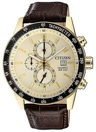 men s citizen gold tone chronograph leather strap watch an3602 02a loading zoom