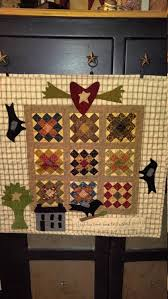 Primitive Wall or Table Quilt with Wool Applique Border