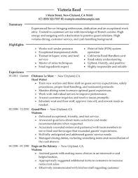 Resume Examples For Restaurant Server Examples Of Resumes