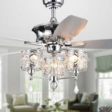 Crystal Light Fixture For Ceiling Fan Miramis 5 Blade 52 Inch Chrome Lighted Ceiling Fan With Crystal Chalice Chandelier Remote Controlled