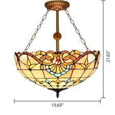 2 light beige bowl shade stained glass 12 19 5 inch width tiffany chandelier pendant lighting