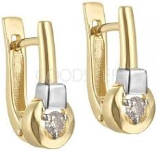 <b>Серьги</b> пусеты из желтого золота с бриллиантами - купить в ...