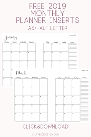 Free Online Monthly Planner Exclusive Free 2019 Monthly Planner Inserts