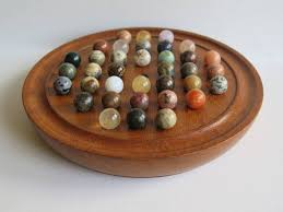 Wooden Solitaire Game With Marbles Late 100thC Solitaire Marble Board Game 100 early hand made 5